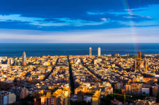 SPAIN Barcelona City sea view
