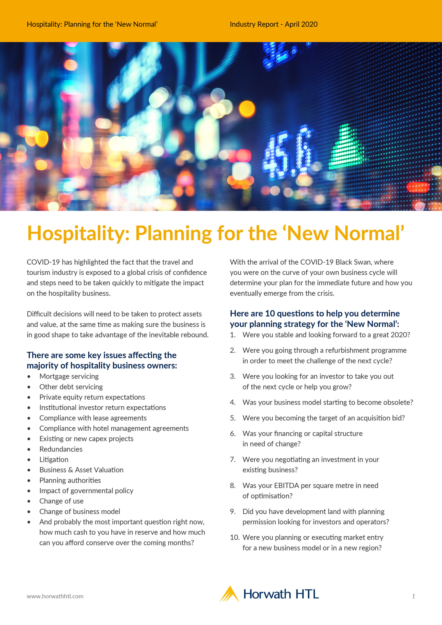 Hospitality Planning for the New Normal