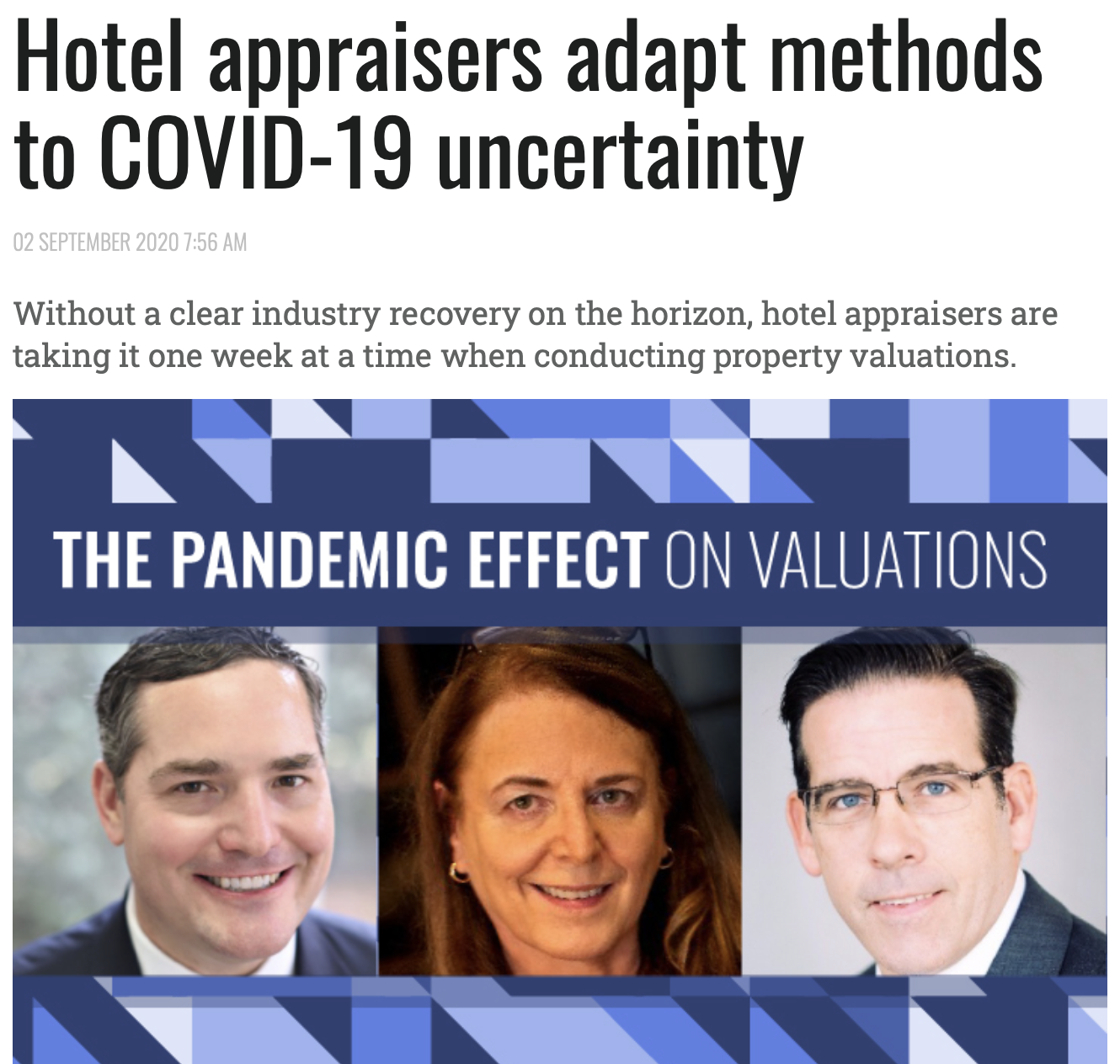 Hotel appraisers adapt methods to COVID-19 uncertainty