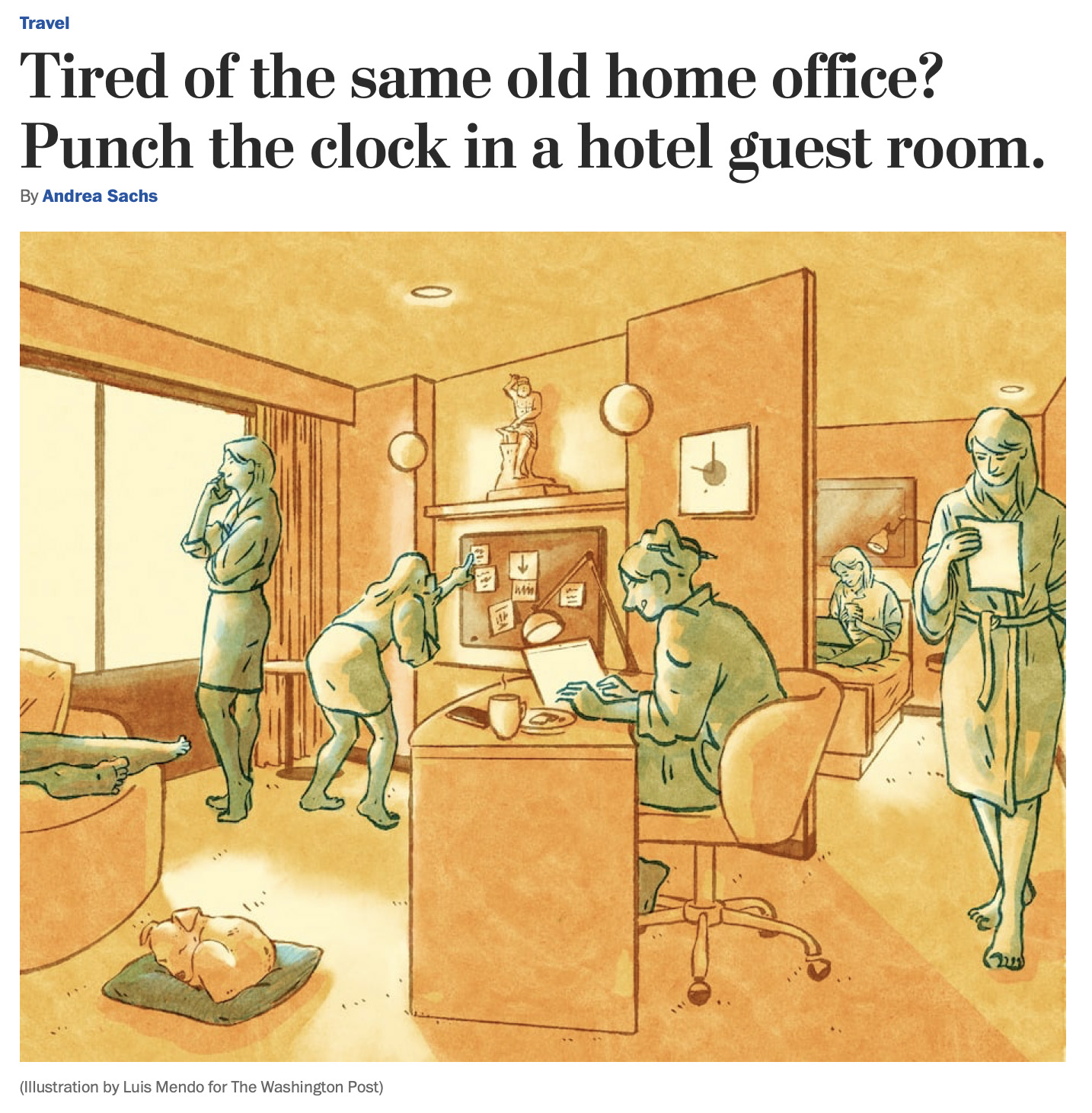 Tired of the same old home office? Punch the clock in a hotel guest room.